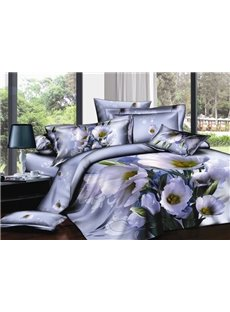 Fresh Flower Printing Noble Purple Cotton 2-Piece Pillow Cases