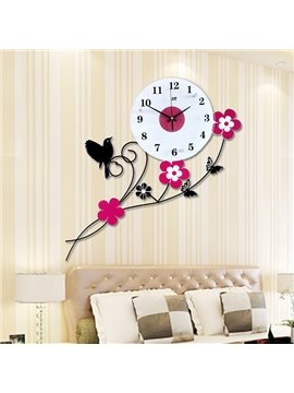 Fabulous Flowers and Birds Mute Decorative Wall Clock