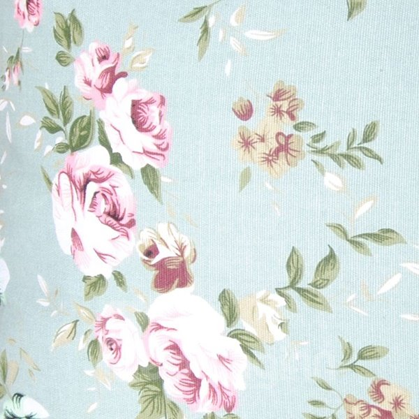 Rural Pastoral Style Pink Flower Refreshing Blue Cotton Throw Pillowcase