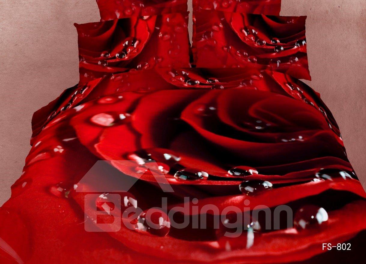 Romantic Big Red Flower Water Drop Flat Sheet