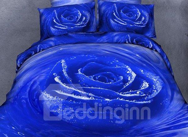 Graceful Blue Rose Comfy Cotton Flat Sheet