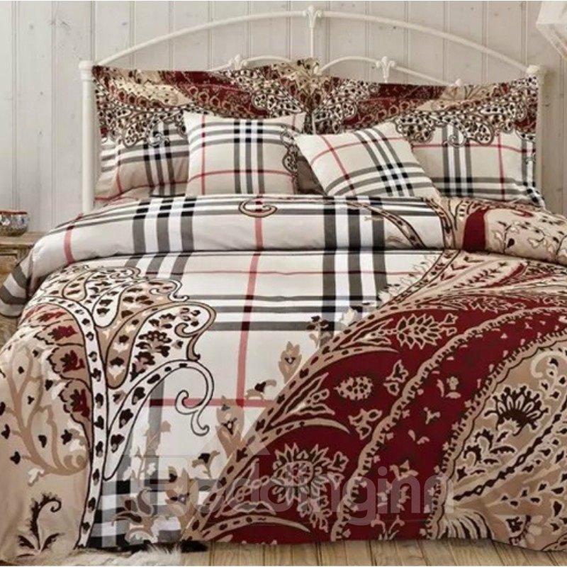 European Style Plaid Jacquard 4-Piece Duvet Cover Sets