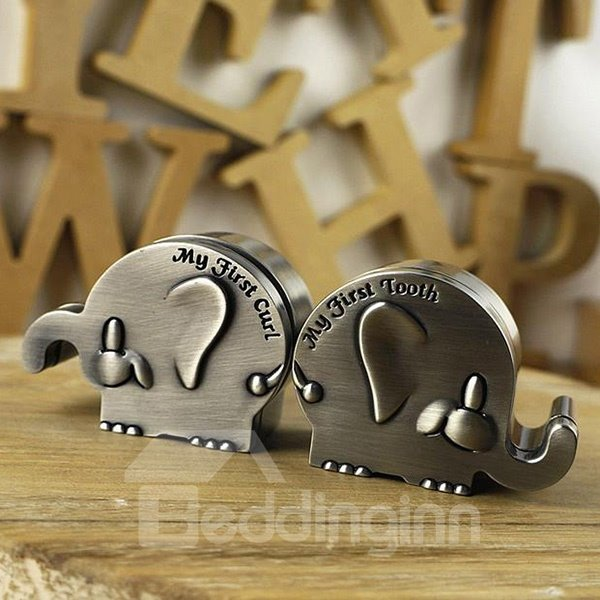 Lovely Little Elephants Zinc Alloy Baby First Teeth and Curl Keepsake Box