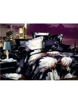 Magnificent Elegant Epiphyllum European Style 4-Piece Duvet Cover Sets