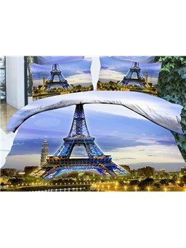 Vogue Famous Eiffel Tower Print 4-Piece Duvet Cover Sets