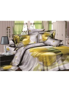 European Contracted Style Tulip Print 4-Piece Duvet Cover Sets