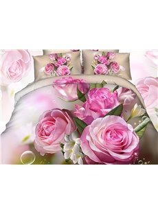 Lifelike 3D Pink Peony Print 4-Piece Cotton Duvet Cover Sets