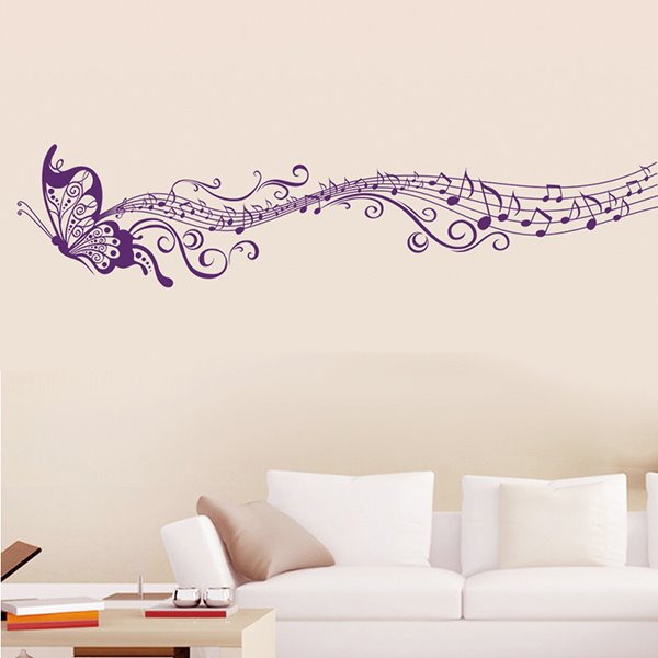 Gorgeous Flying Butterfly and Musical Notes Wall Sticker