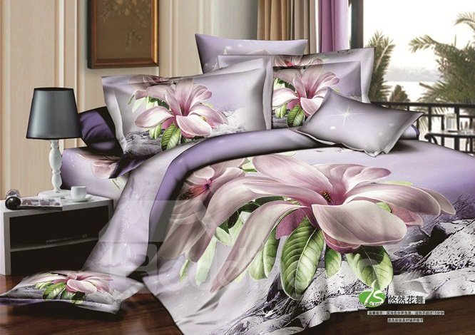 Graceful Lilac Orchid Printing Light Purple Fitted Sheet