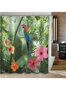 Vivid Parrot and Forest Print 3D Bathroom Shower Curtain