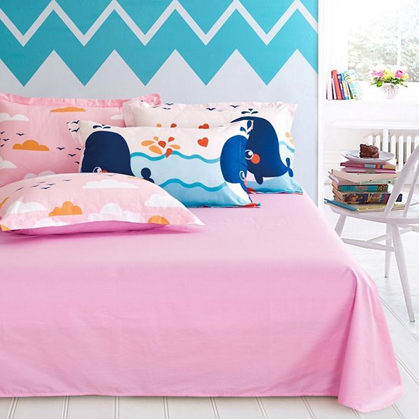 Cute Whale and Small Fish Pattern 4-Piece 100% Cotton Kids Duvet Cover Sets