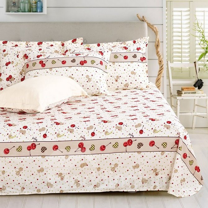 Sweet Cherry Printing 4-Piece Cotton Duvet Cover Sets