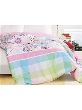 Gorgeous Sweet Flowers Fashion Plaid 4-Piece Cotton Duvet Cover Sets
