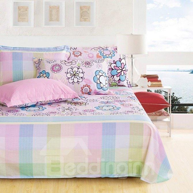 Gorgeous Sweet Flowers Fashion Plaid 4-Piece Cotton Duvet Cover Sets