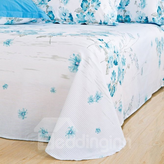 Graceful Blue Wild Flowers Comfy Cotton 4-Piece Duvet Cover Sets