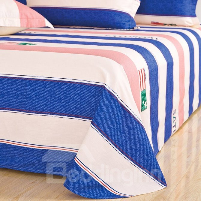 Stylish Stripe Contracted Style 4-Piece Cotton Duvet Cover Sets