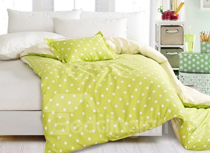 Fresh Green Polka Dot Contracted Style 4-Piece Duvet Cover Sets