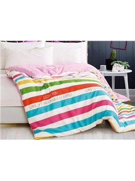 Pretty Iridescence Stripe 4-Piece Cotton Duvet Cover Sets