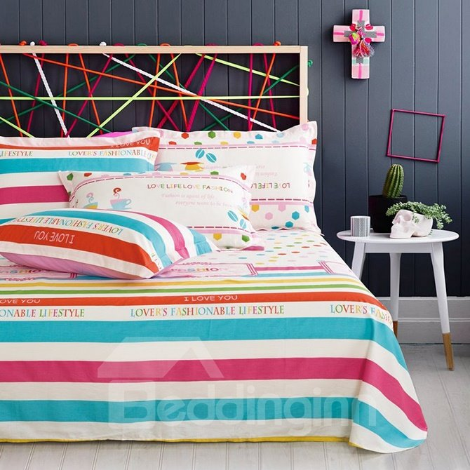 Pretty Iridescence Stripe 4-Piece Cotton Duvet Cover Sets