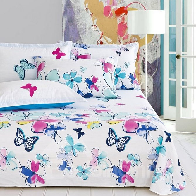 Elegant Butterflies & Colorful Flowers Printing 4-Piece Cotton Duvet Cover Sets