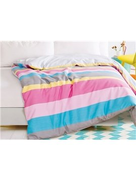 Cuddly Iridescence Stripe 4-Piece Cotton Duvet Cover Sets