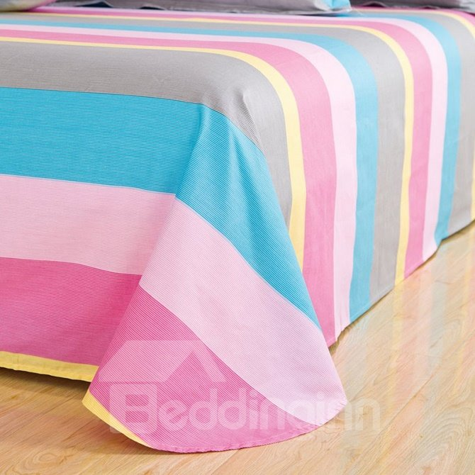 Cuddly Iridescence Stripe 4-Piece Cotton Duvet Cover Sets