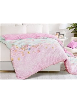 Sweet Blue Pink Joint-color Flower Printing 4-Piece Duvet Cover Sets