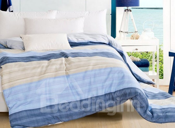 Modern Stripe Contracted Style 4-Piece Duvet Cover Sets