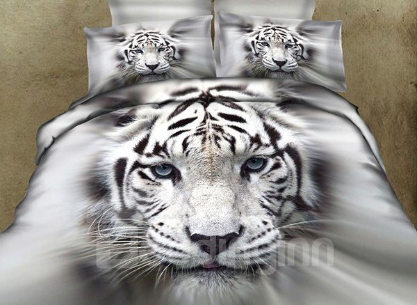 Vigorous Powerful White Tiger Printing Flat Sheet