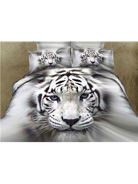 Vigorous Powerful White Tiger Printing Flat Sheet