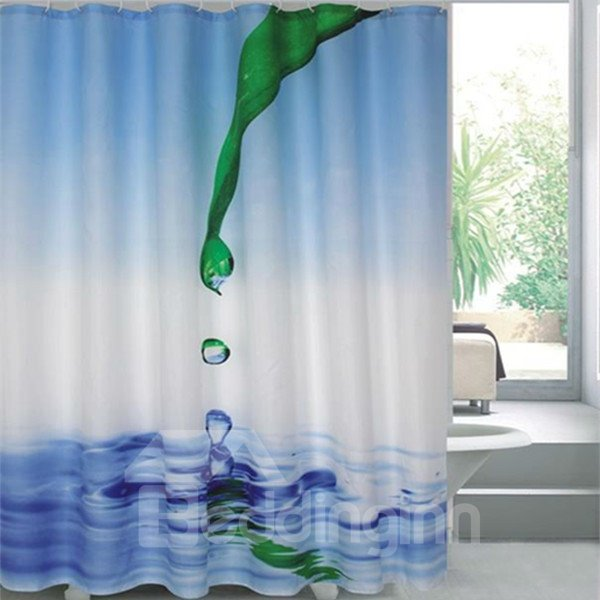 Bright Color Vivid 3D Green Leaf Droplets Shower Curtain
