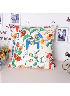 Novel Hobbyhorse Pastoral Flowers Printing Throw Pillowcase