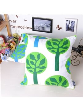 Graceful Fresh Green Tree Soft Cotton Throw Pillowcase