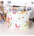 Graceful Rural Style Birds Tree Printing Throw Pillowcase