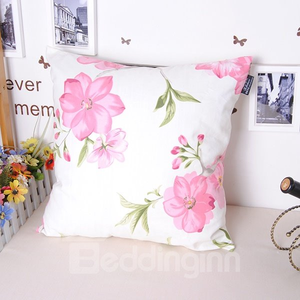 Cuddly Adorable Pink Flowers Super Cozy Throw Pillowcase