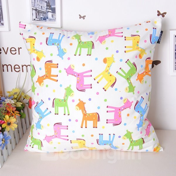 Creative Lovely Colorful Horse Printing Throw Pillowcase