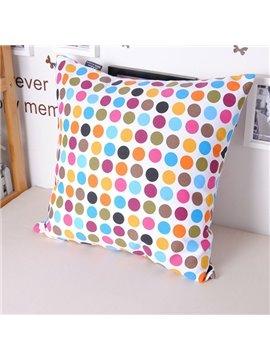 Faddish Polychromatic Polka Dot Printing Comfortable Cotton Throw Pillowcase