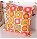 Chic Plaid Colorful Circle Style Throw Pillowcase
