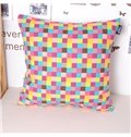 Chic Polychrome Plaid Style Cotton Throw Pillowcase