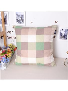 High Quality Modern Plaid Design Cotton Throw Pillowcase