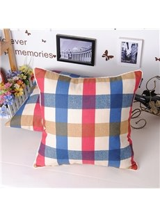 Mediterranean Style Fashion Plaid Design Throw Pillowcase