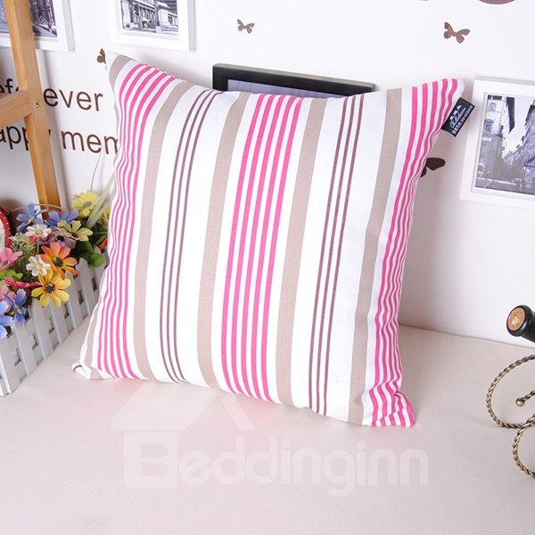 Stylish Classy Pink Stripe Printing Throw Pillowcase