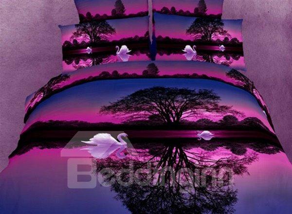 Wonderful Purple Swan Lake Cotton Fitted Sheet