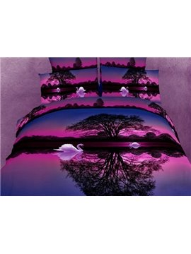 Wonderful Purple Swan Lake Cotton 2-Piece Pillowcases