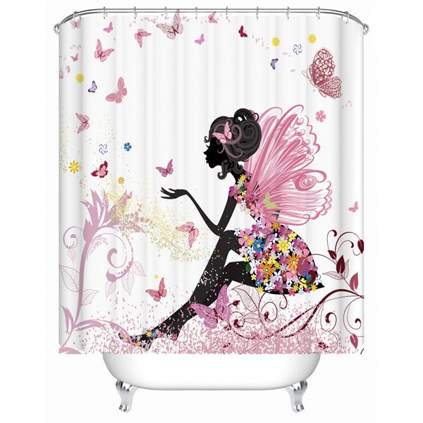 Dreamlike Charming Butterfly Girl Bathroom Shower Curtain