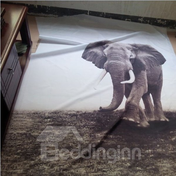Vivid Elephant Printing 3D Waterproof Shower Curtain