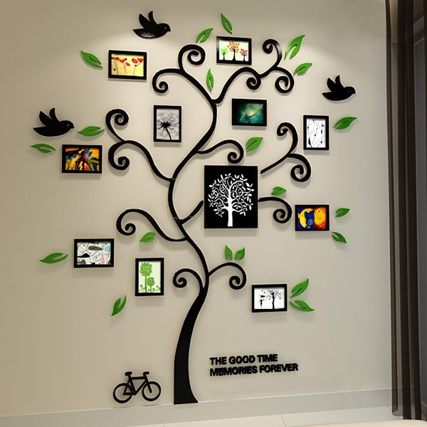 Fantastic family tree pattern photo frame 3d wall sticker for Sticker mural 3d