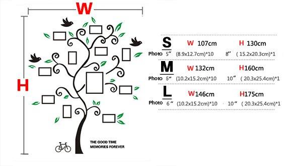 Fantastic Family Tree Pattern Photo Frame 3D Wall Sticker