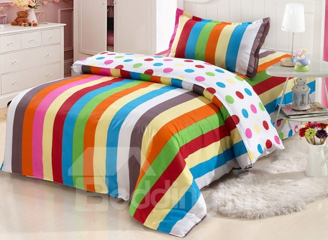 Colorful Stripes and Polka Dots Pattern 3-Piece Cotton Kids Duvet Cover Sets