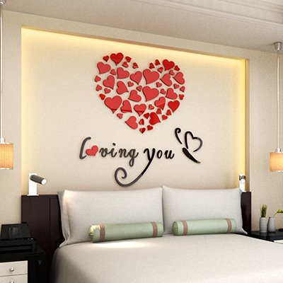 Romantic Heart and Butterfly Loving You Acrylic 3D Wall Sticker